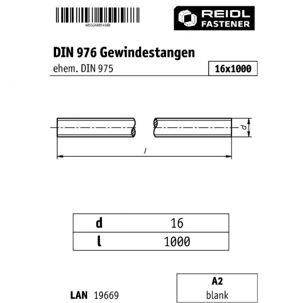 DIN 976 Gewindestange M 16 x 1000 A2 blank