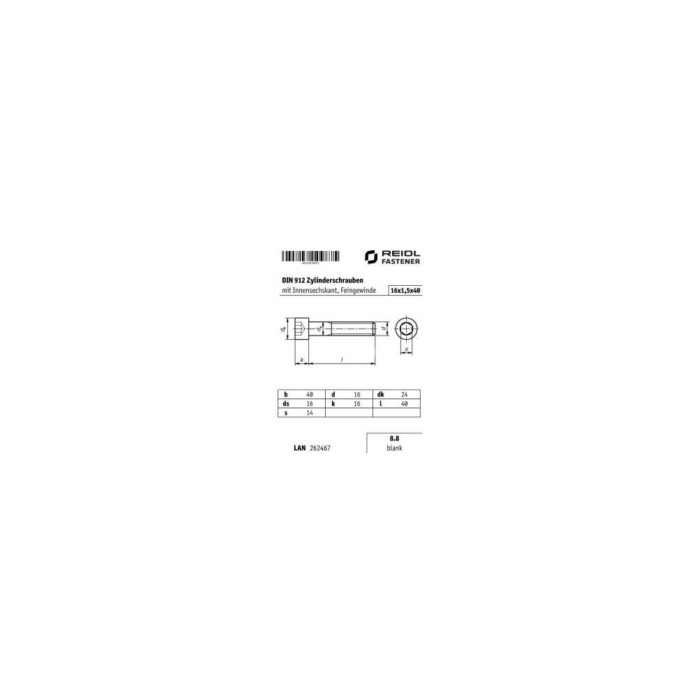 8.8 blank Feingewinde M16 x 1,5 x 40 DIN 912 Zylinderschraube Innensechskant