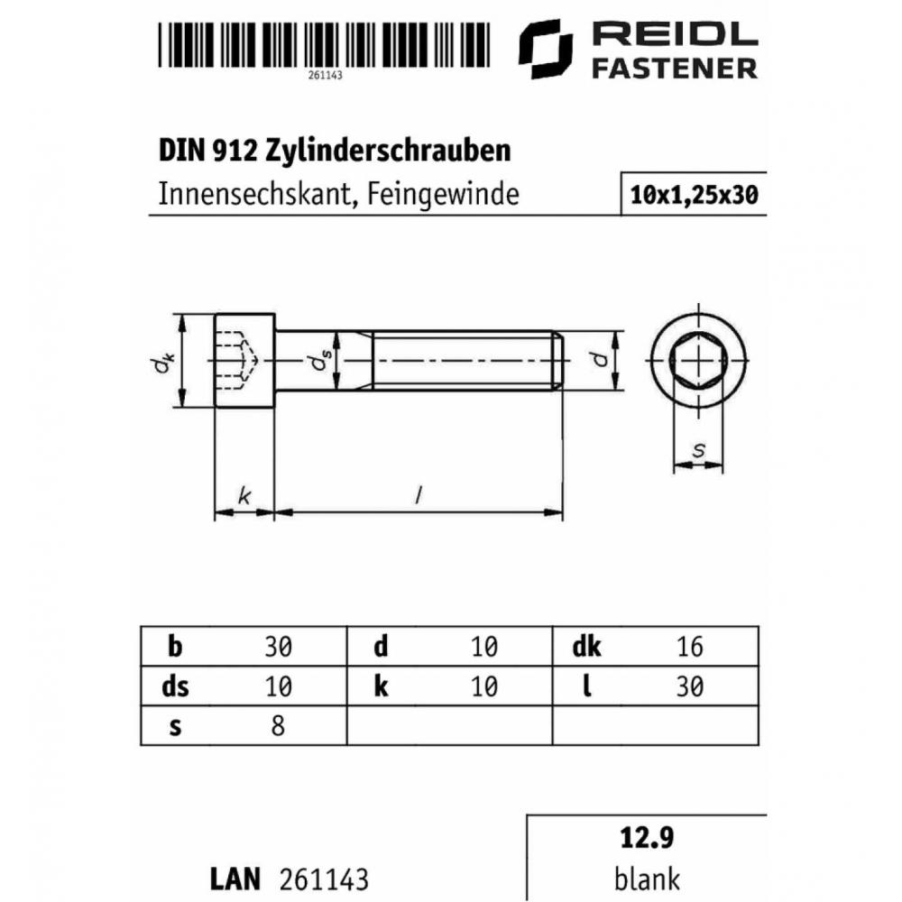 12.9 bla Feingewinde M10 x 1,25 x 25 DIN 912 Zylinderschraube Innensechskant
