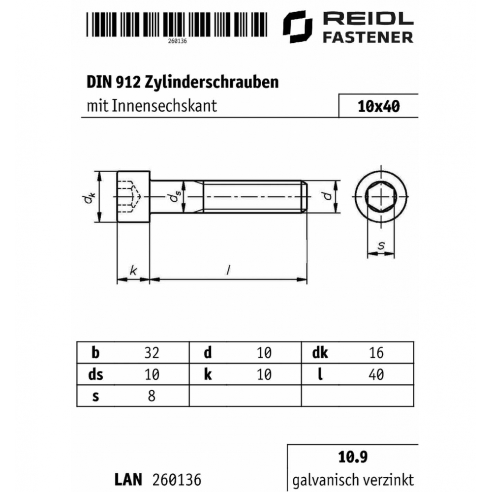 verzinkt farblos 100 St/ück Reidl Zylinderschrauben mit Innensechskant 6 x 30 mm DIN 912 10.9 galv