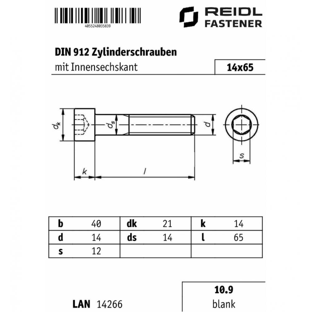 10x DIN 912 Zylinderschraube 10.9 blank Innensechskant M 10 x 20