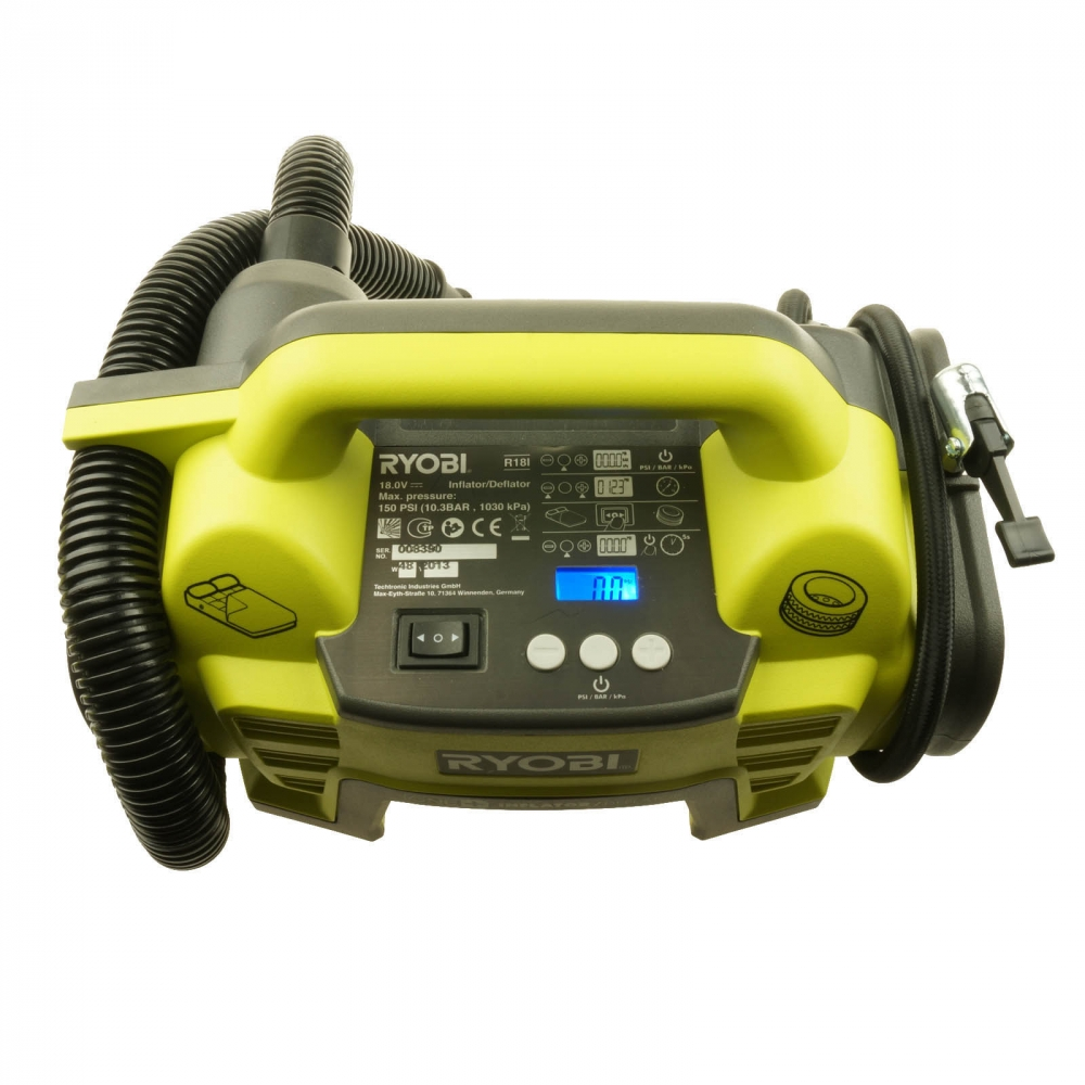 ryobi akku-kompressor set r18i-l13 pumpe r18i-0 liion akku (18v/1.3